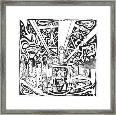 Maze Of Team Of Monkeys - Operating A Tower Crane Framed Print by Yonatan Frimer Maze Artist