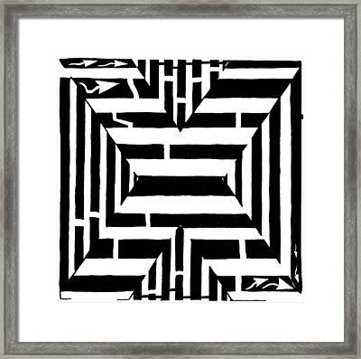 Maze Of The Letter X Framed Print by Yonatan Frimer Maze Artist