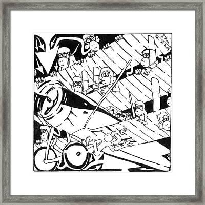 Maze Of Tri-plane Overtaken By Monkeys Framed Print by Yonatan Frimer Maze Artist