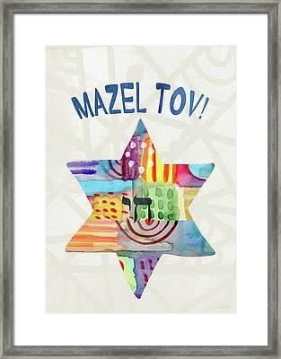 Mazel Tov Colorful Star- Art By Linda Woods Framed Print by Linda Woods