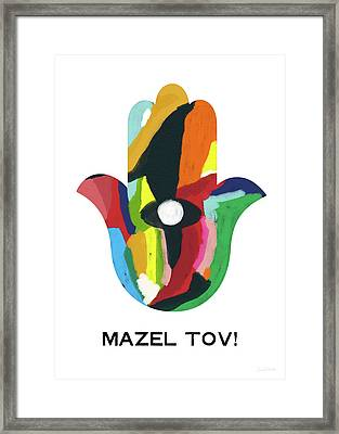 Framed Print featuring the mixed media Mazel Tov Hamsa- Art By Linda Woods by Linda Woods