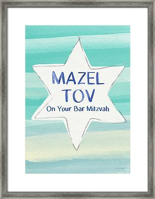 Mazel Tov On Your Bar Mitzvah-  Art By Linda Woods Framed Print