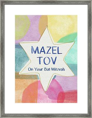 Mazel Tov On Your Bat Mitzvah- Art By Linda Woods Framed Print
