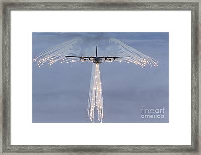 Mc-130h Combat Talon Dropping Flares Framed Print