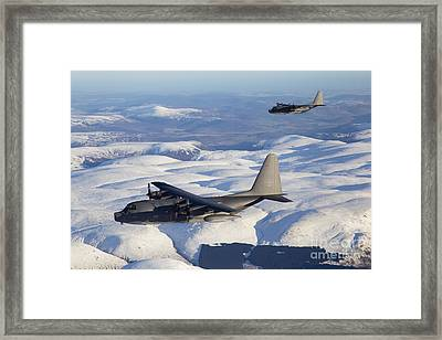 Mc-130p Combat Shadow And Mc-130h Framed Print by Gert Kromhout