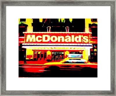Mc Donalds On Broadway  Framed Print by Funkpix Photo Hunter