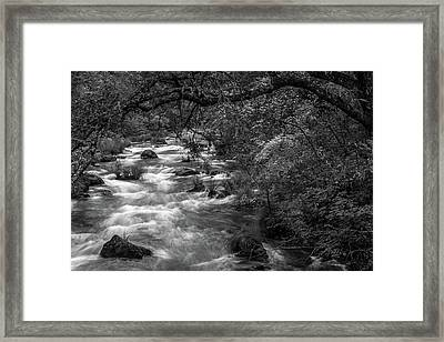 Mcarthur-burney Falls Creek Black And White Framed Print