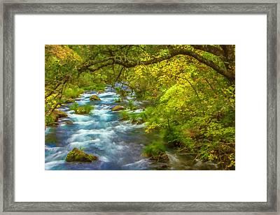 Mcarthur-burney Falls Creek Painterly Framed Print