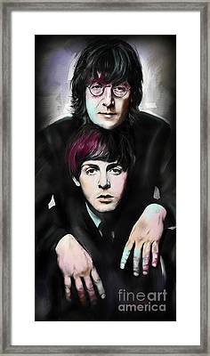 Mccartney And Lennon Framed Print