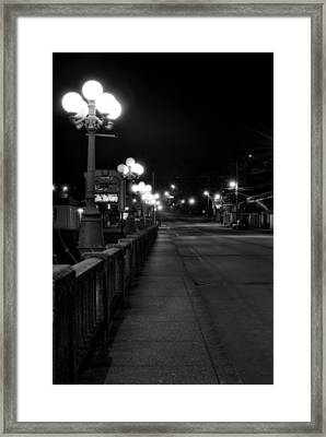 Mccaysville Bridge At Night In Black And White Framed Print by Greg Mimbs
