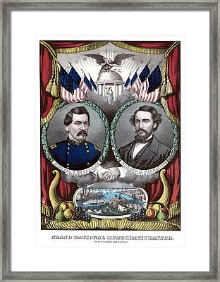 Mcclellan And Pendleton Campaign Poster Framed Print by War Is Hell Store
