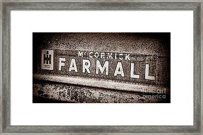 Mccormick Farmall Grunge Sepia Framed Print by Olivier Le Queinec