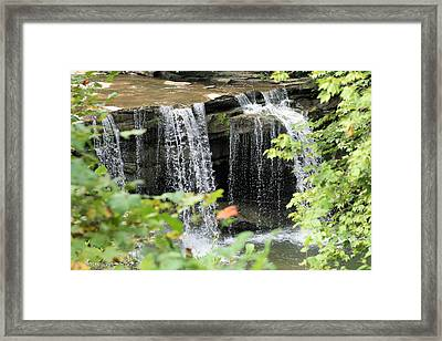 Mccoy Falls From The Road Framed Print by Carolyn Postelwait