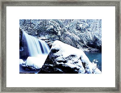 Mccoy Falls With Snow Framed Print by Thomas R Fletcher