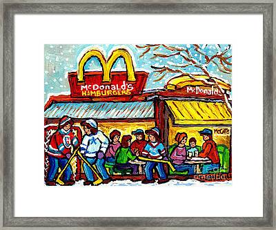 Mcdonald's Hamburger Restaurant Paintings Montreal Mccafe Winter Scenes Hockey Art Carole Spandau    Framed Print by Carole Spandau
