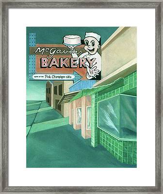 Framed Print featuring the painting Mcgavins's Bakery by Sally Banfill