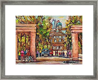 Mcgill Gates  Entrance Of Mcgill University Montreal Quebec Original Oil Painting Carole Spandau Framed Print by Carole Spandau