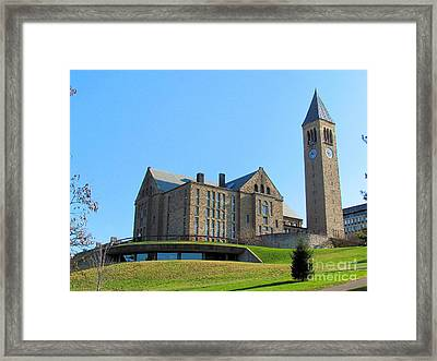 Mcgraw Tower And Uris Library Framed Print by Elizabeth Dow