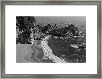Mcway Cove Waterfall Black And White Framed Print by Garry Gay
