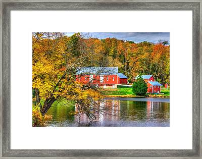 Md Country Roads - Outbuildings Along The Shore Of Lake Merle At Lake Linganore Frederick County Framed Print by Michael Mazaika