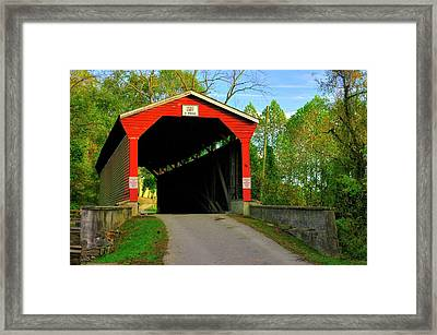 Md Covered Bridges - Foxcatcher Farms Covered Bridge Over Big Elk Creek No. 2a - Cecil County Framed Print