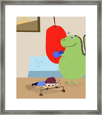 Me And My Dinosaur Exercise Framed Print by Paws Pals