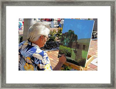 Me At Work Painting The Building With My Studio In It Framed Print by Charles Peck