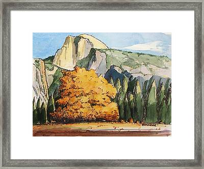 Framed Print featuring the painting Meadow At Half Dome by Terry Banderas