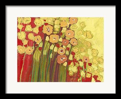Orange Floral Framed Prints
