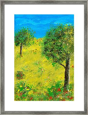 Framed Print featuring the painting Meadow With Trees by Sascha Meyer