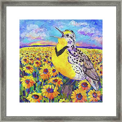 Meadowlark Song By Peggy Johnson Framed Print by Peggy Johnson