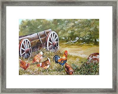 Meals And Wheels Framed Print by Val Stokes