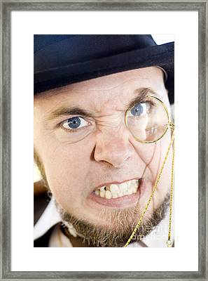 Mean Monocle Man Framed Print by Jorgo Photography - Wall Art Gallery