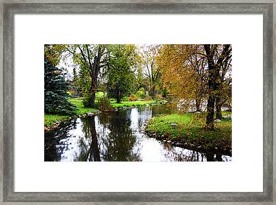 Meandering Creek In Autumn Framed Print