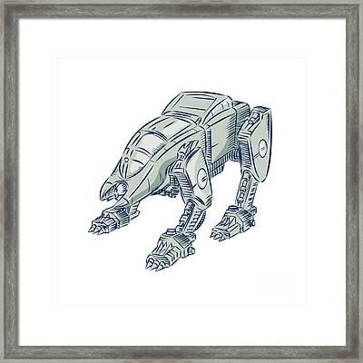 Mecha Bot High Angle Etching Framed Print