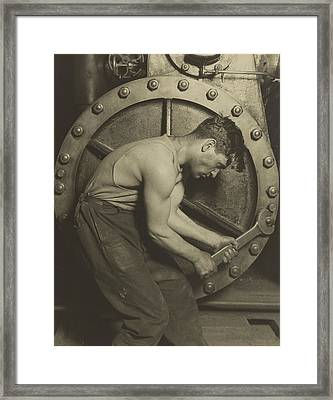 Mechanic And Steam Pump Framed Print by Lewis Wickes Hine