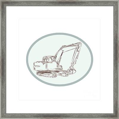 Mechanical Digger Excavator Oval Etching Framed Print by Aloysius Patrimonio