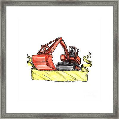 Mechanical Digger Excavator Ribbon Tattoo Framed Print by Aloysius Patrimonio