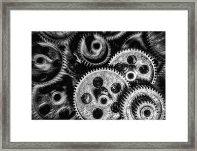 Mechanical Gears Bw Framed Print