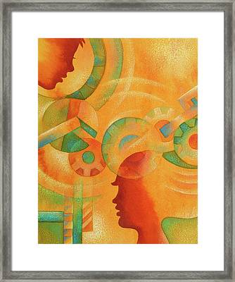 Mechanical Minds Framed Print by Leon Zernitsky