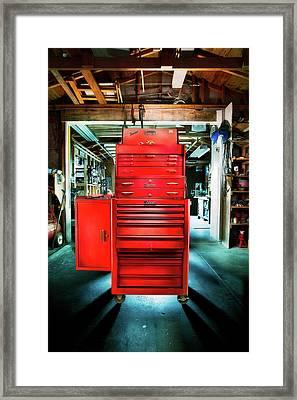 Mechanics Toolbox Cabinet Stack In Garage Shop Framed Print