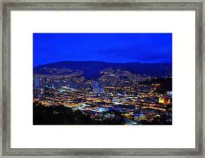 Medellin Colombia At Night Framed Print