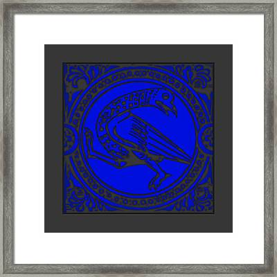 Mediaeval Bird Revision - Blue Framed Print by Li   van Saathoff