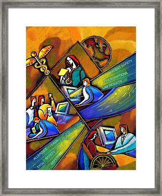 Medicare And Information Technology Framed Print by Leon Zernitsky
