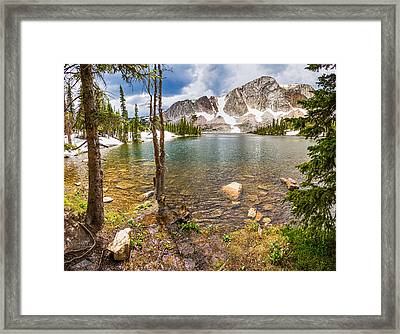 Medicine Bow Snowy Mountain Range Lake View Framed Print