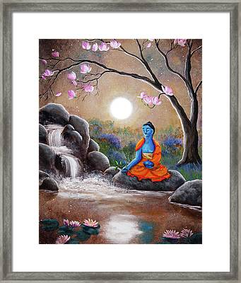 Medicine Buddha By A Waterfall Framed Print by Laura Iverson