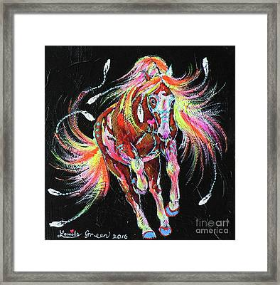 Medicine Fire Pony Framed Print by Louise Green