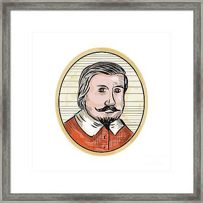 Medieval Aristocrat Gentleman Oval Woodcut Framed Print by Aloysius Patrimonio