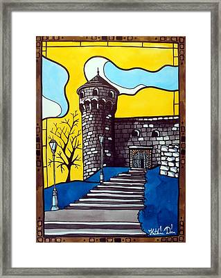 Framed Print featuring the painting Medieval Bastion -  Mace Tower Of Buda Castle Hungary By Dora Hathazi Mendes by Dora Hathazi Mendes