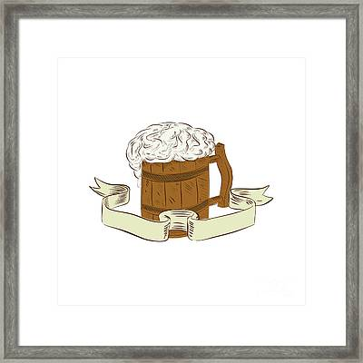 Medieval Beer Mug Foam Drawing Framed Print by Aloysius Patrimonio